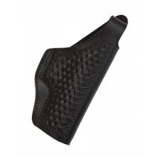Leather Belt Gun Holster with Basket Weave Pattern