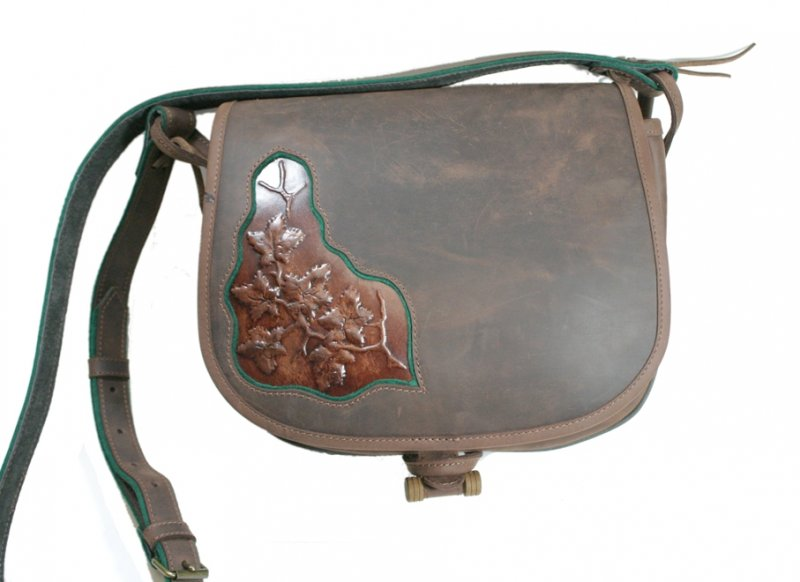 Leather bag with printed motive