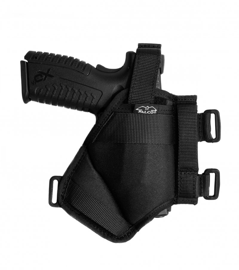 An Universal horizontal shoulder holster, belt and small of the back holster