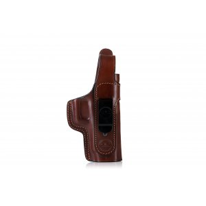 Secured IWB concealed leather holster with thumb break