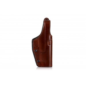 OWB leather holster with thumb break and adjustable gun draw retention