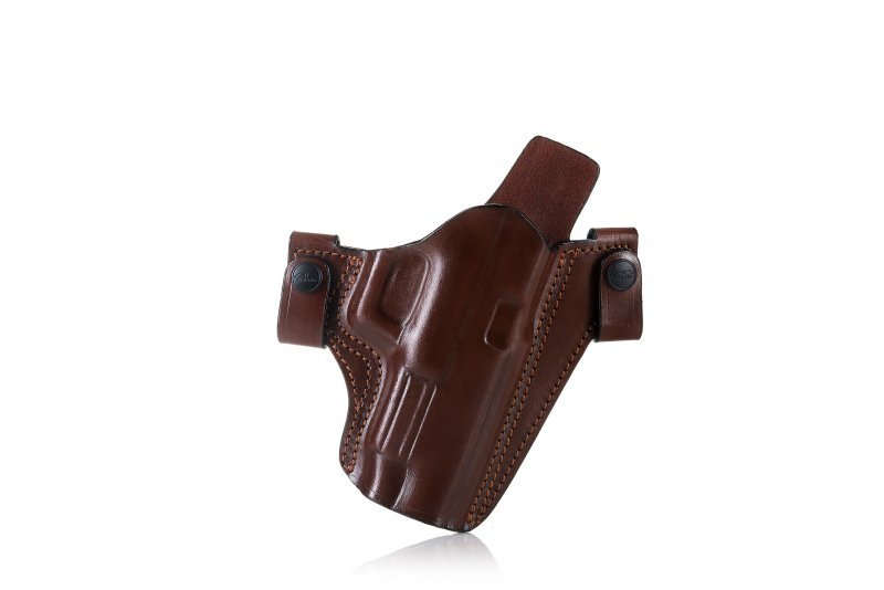 Easy on open top pancake style OWB leather holster