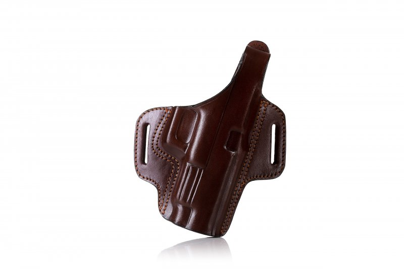 Pancake style OWB leather holster with thumb break