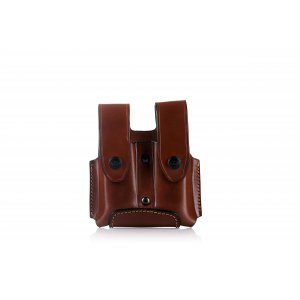 Double magazine open top OWB leather pouch