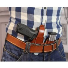 Appendix carry secured concealed leather holster with magazine pouch