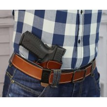Variable IWB concealed open top leather holster with adjustable belt clip