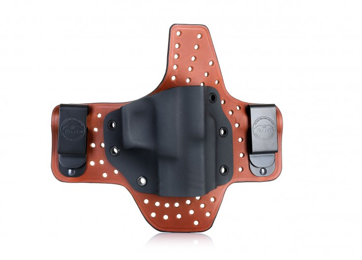 Maximum comfort IWB concealed open top leather&Kydex holster on air flow platform
