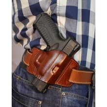 Open top open barrel OWB leather holster