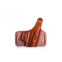 Open barrel OWB leather holster with thumb break