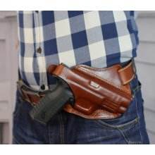 Cross draw OWB leather holster