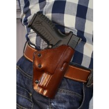 Quick draw OWB leather holster with security lock