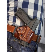 Quick draw OWB leather belt holster with adjustable retention