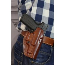 Paddle OWB open barrel leather belt holster with adjustable retention