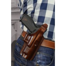 Slim design OWB leather holster with thumb break and belt clip