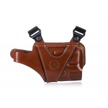 Horizontal leather shoulder holster for guns with light