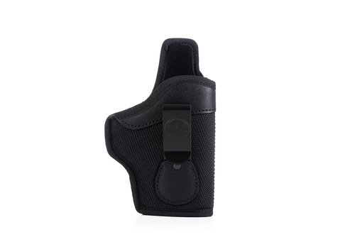 Variable IWB concealed open top nylon holster with adjustable belt clip