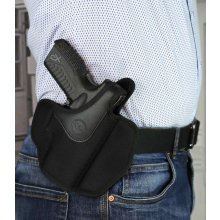 Dual angle open top OWB nylon holster with thumb break