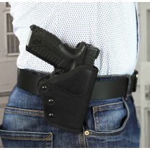 Quick draw OWB nylon holster with MLC security lock