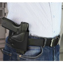 Open barrel quick draw OWB nylon holster with security MLC lock