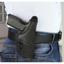 OWB nylon holster with thumb break and adjustable gun draw retention screws