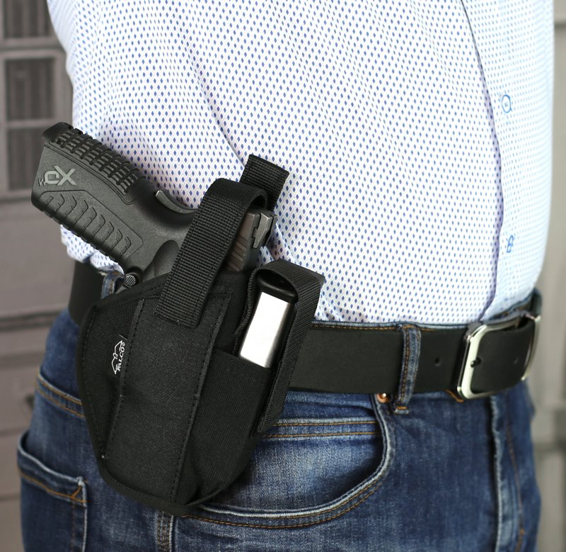 Nylon OWB holster with extra mag holder