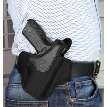 Pancake style OWB nylon holster with thumb break