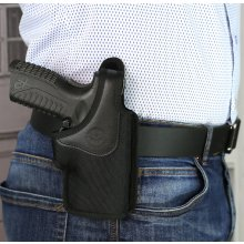 Slim design OWB nylon holster with thumb break and a belt clip