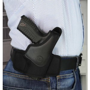 High ride OWB nylon holster with thumb break