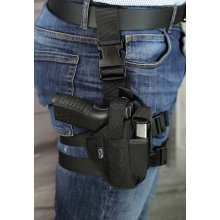 Tactical nylon leg holster with extra mag