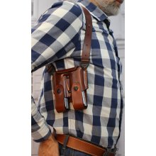Double magazine leather pouch for shoulder system