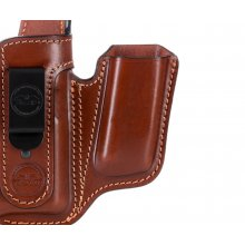 Appendix concealed carry leather holster for guns with light and with magazine pouch