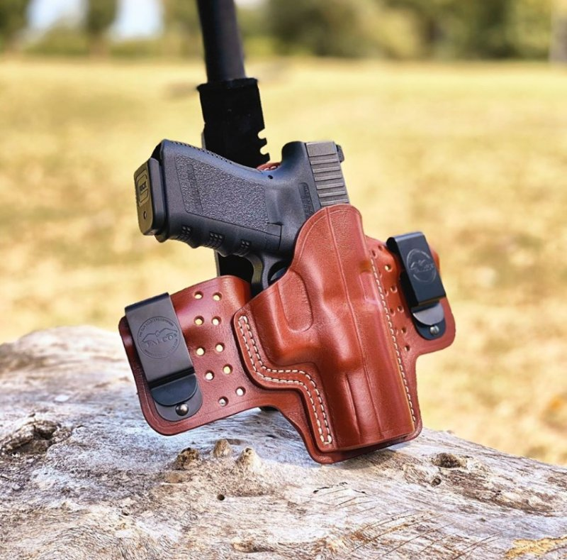 Maximum comfort IWB concealed open top leather holster on air flow platform