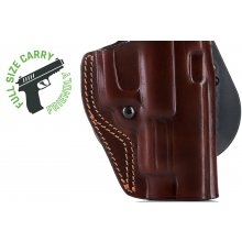 Paddle OWB open barrel leather belt holster with thumb break