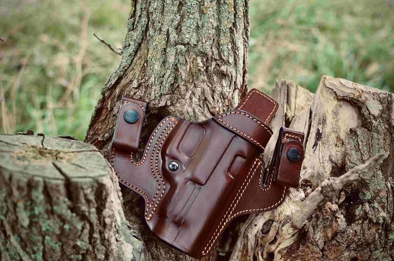 Dual IWB / OWB pancake style leather holster