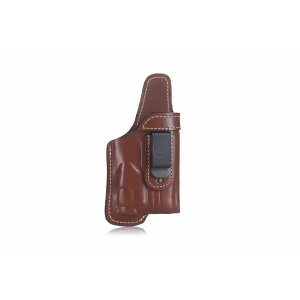 Timeless open-top IWB leather holster for gun with laser/light