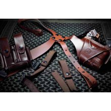 Leather Horizontal Shoulder Carry Set for gun with light