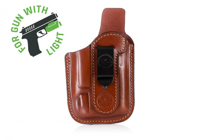 Pancake style IWB leather holster for guns with light